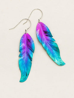 PURPLE AND TURQUOISE FREE SPIRIT FEATHER EARRINGS HOLLY YASHI