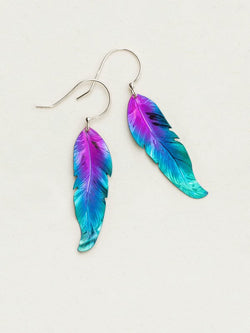 PURPLE AND TURQUOISE PETITE FREE SPIRIT FEATHER EARRINGS HOLLY YASHI