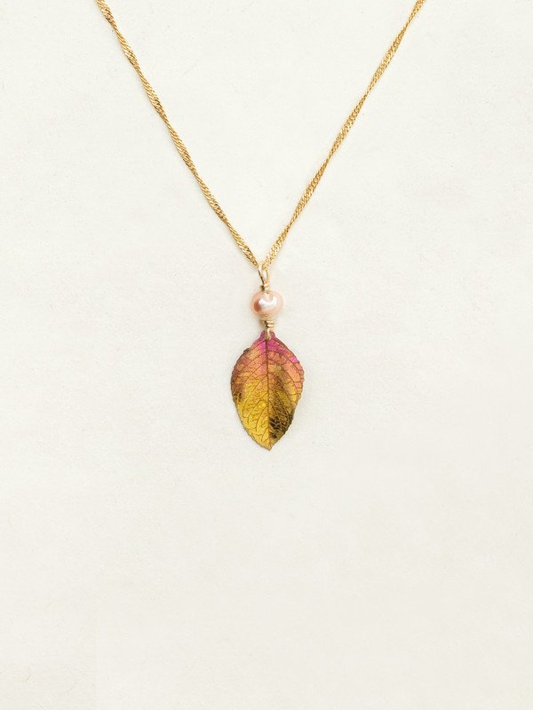 Peach Healing Leaf Pendant Necklace