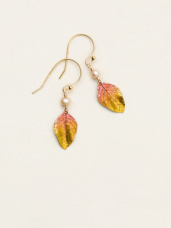 Peach Healing Leaf Earrings