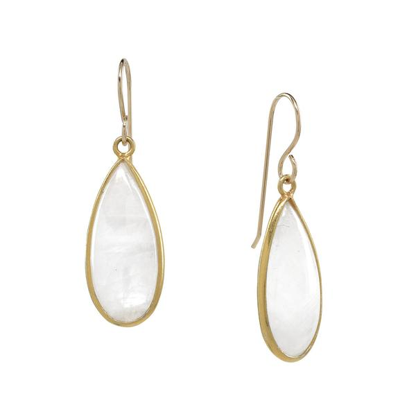 GOLD VERMEIL TEARDROP RAINBOW MOONSTONE EARRINGS
