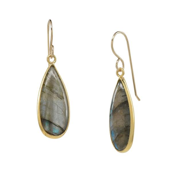 GOLD VERMEIL TEARDROP LABRADORITE EARRINGS