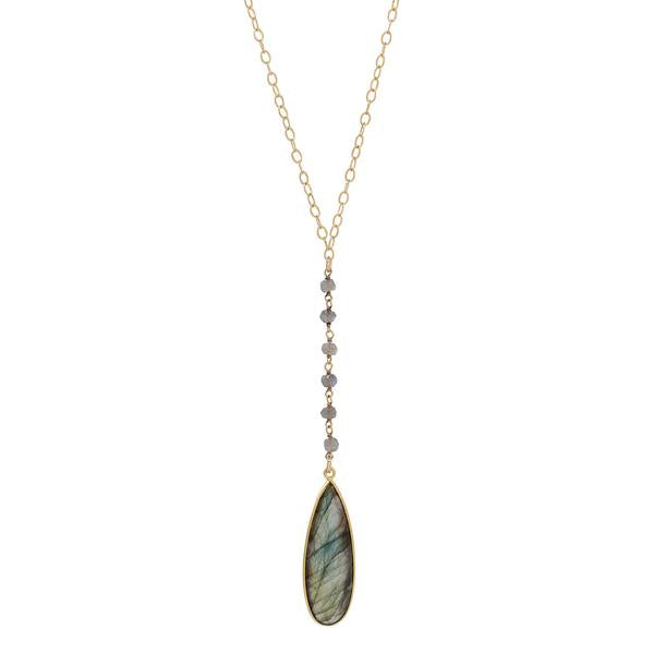 GOLD VERMEIL TEARDROP LABRADORITE NECKLACE