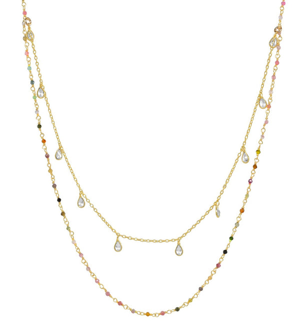 GOLD VERMEIL 2-TIERED NECKLACE WITH TOURMALINE & CUBIC ZIRCONIA