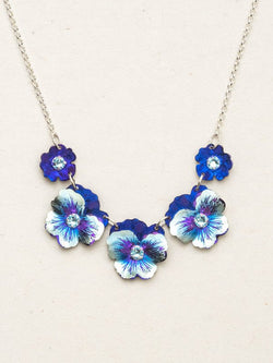 BONNIE BLUE GARDEN PANSY CLASSIC NECKLACE