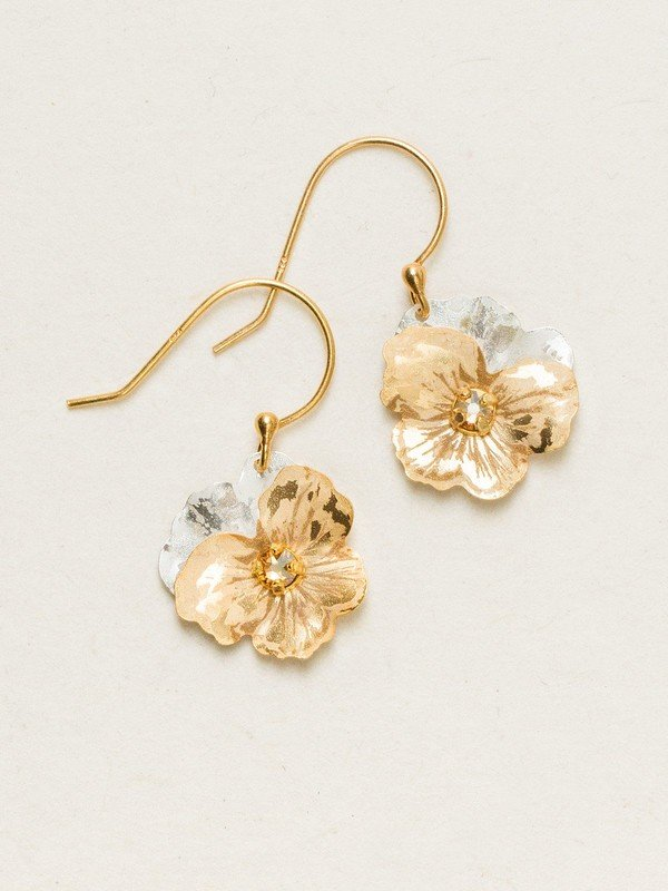 CHAMPAGNE GARDEN PANSY DROP EARRINGS HOLLY YASHI