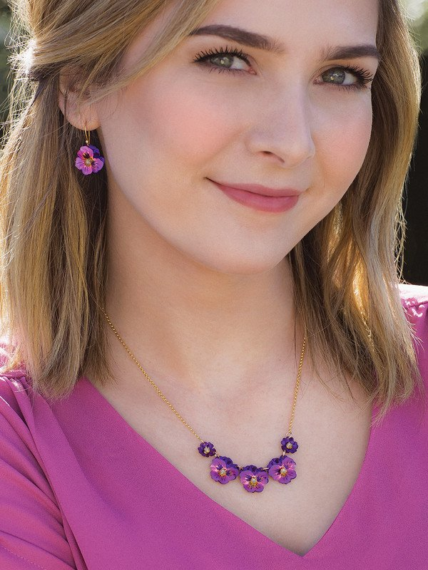 FUCHSIA GARDEN PANSY EARRINGS
