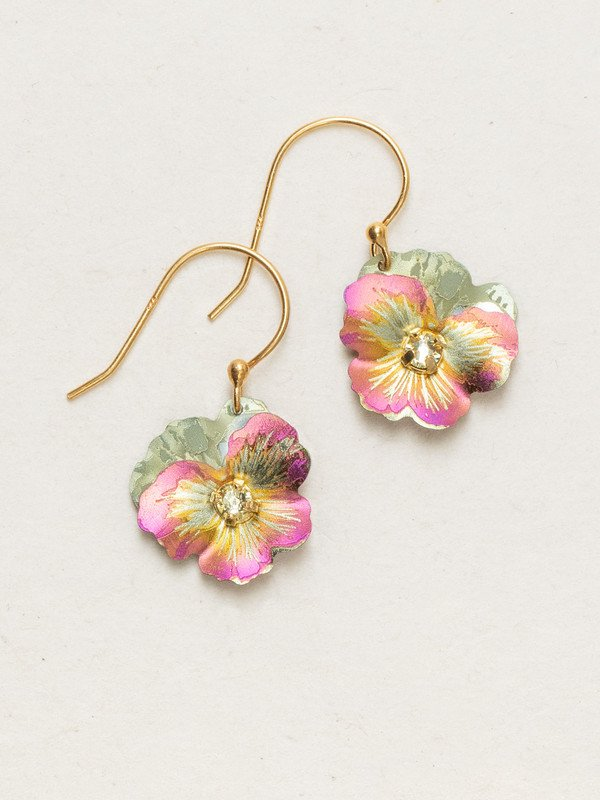 APRICOT GARDEN PANSY EARRINGS