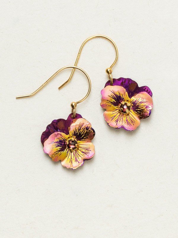 BURGUNDDY GARDEN PANSY VINTAGE DROP EARRINGS HOLLY YASHI