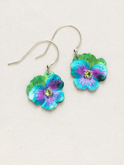 AVALON TEAL GARDEN PANSY DROP EARRINGS HOLLY YASHI