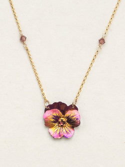 VINTAGE BURGUNDY GARDEN PANSY NECKLACE