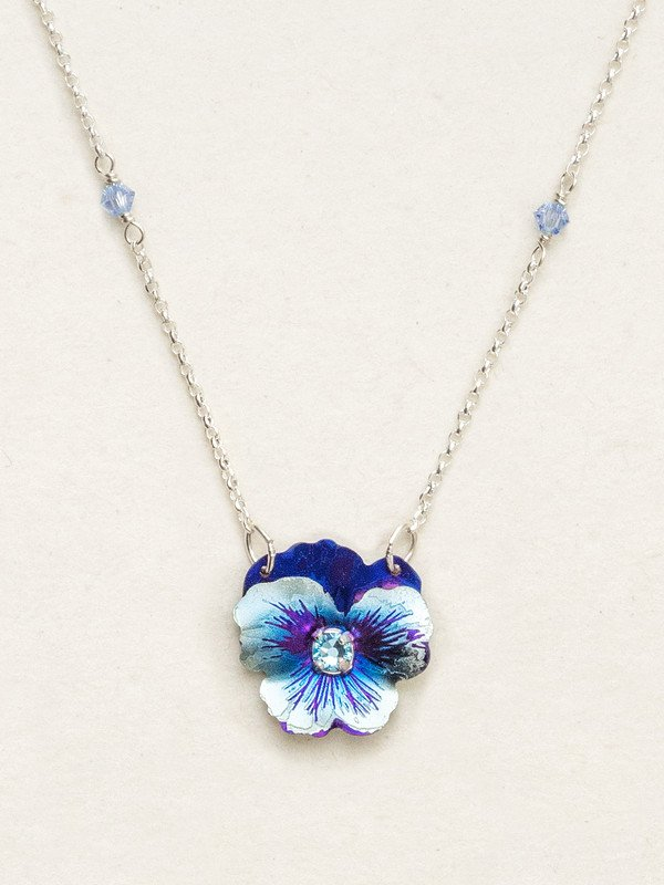 BONNIE BLUE GARDEN PANSY NECKLACE