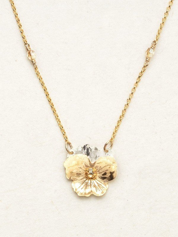 CHAMPAGNE GARDEN PANSY PENDANT NECKLACE HOLLY YASHI