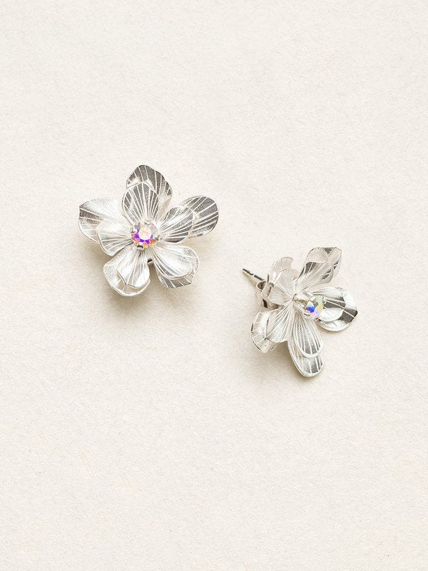Silver/Clear Double Plumeria Post Earrings