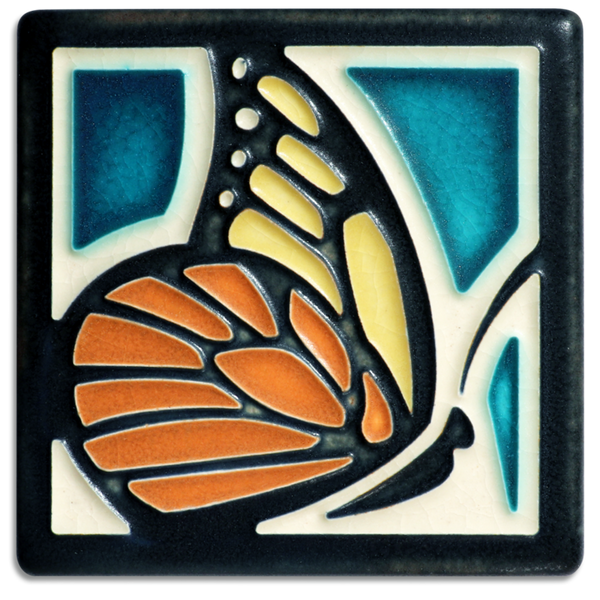 4X4 BUTTERFLY TILE TURQUOISE