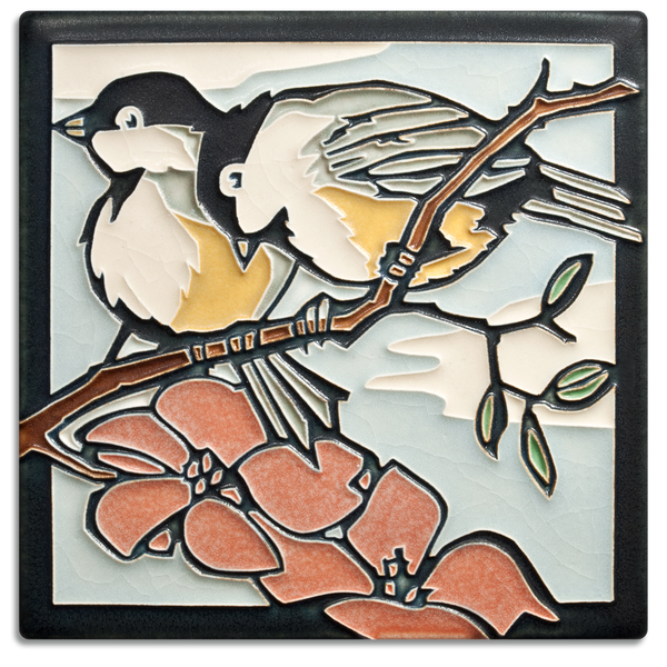 6X6 SPRING CHICKADEES TILE
