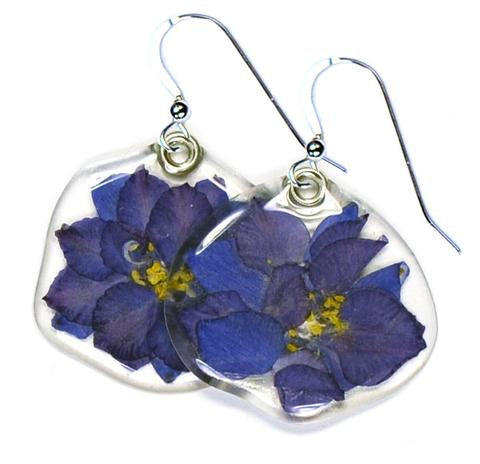 DARK BLUE LARKSPUR EARRINGS