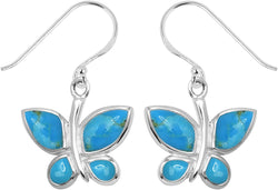 STERLING SILVER TURQUOISE BUTTERFLY EARRINGS