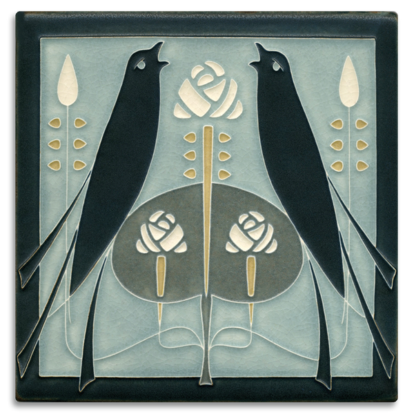 MOTAWI SONGBIRDS GREY BLUE TILE 8X8 8868