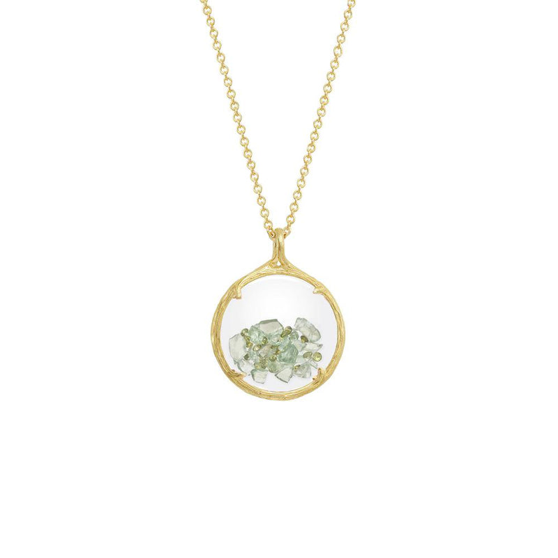 "18K GOLD VERMEIL SMALL SHAKER AUGUST BIRTHSTONE NECKLACE ON 18"" CHAIN"