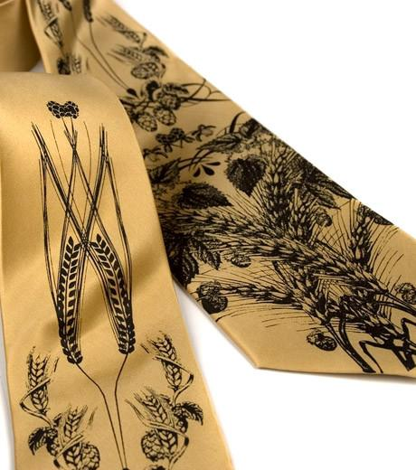BEER SILK NECKTIE: HOPS AND WHEAT