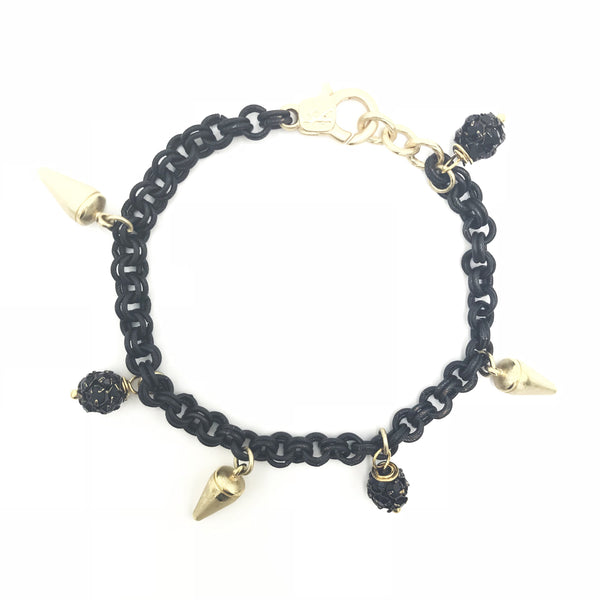 bold sexy spike black gold bracelet