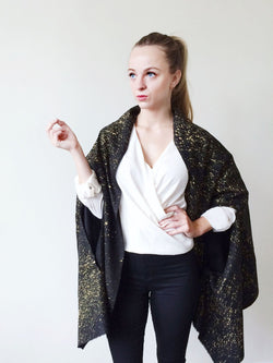 RAW SILK CAPE AND WRAP (BLACK / GOLD)