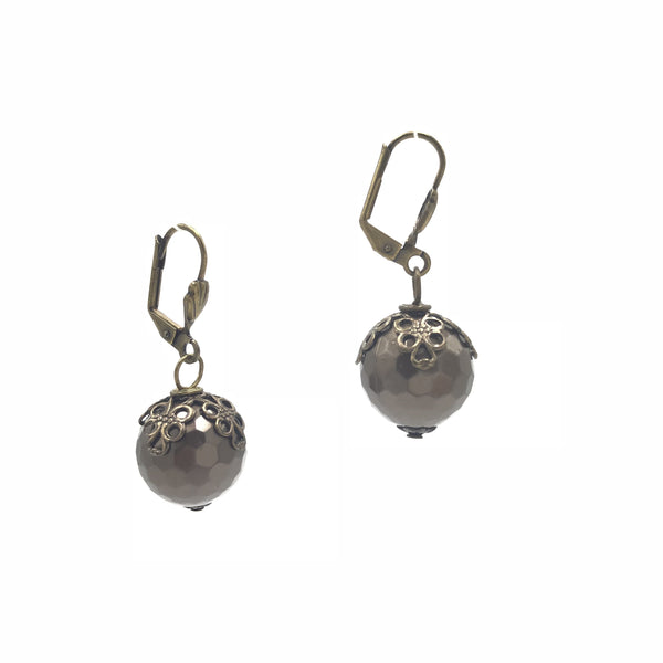 bronze ball leverback earrings