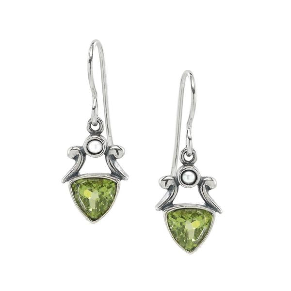 PERIDOT AND PEARL STERLING SILVER EARRINGS