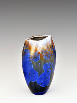 STELLAR WIDE MOUTH FISH VASE (WHITE/BLUE/COBALT)