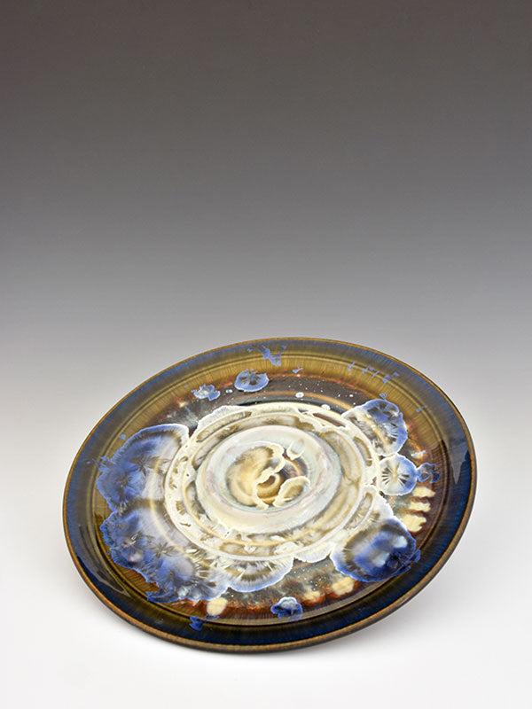 STELLAR BREAD AND OIL PLATE (WHITE/BLUE/COBALT)