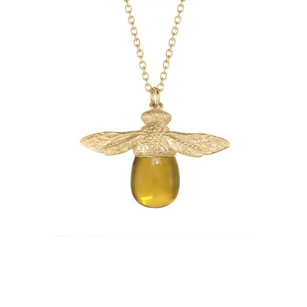 18K GOLD VERMEIL BEE GEMSTONE NECKLACE WITH CITRINE