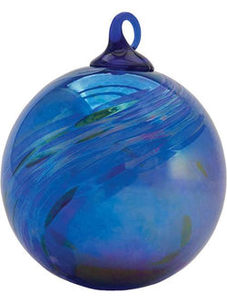 CLASSIC ROUND ORNAMENT - COBALT FEATHER CHIP