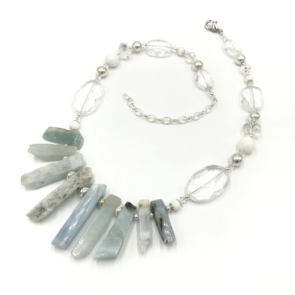 aquamarine jade quartz crystal necklace
