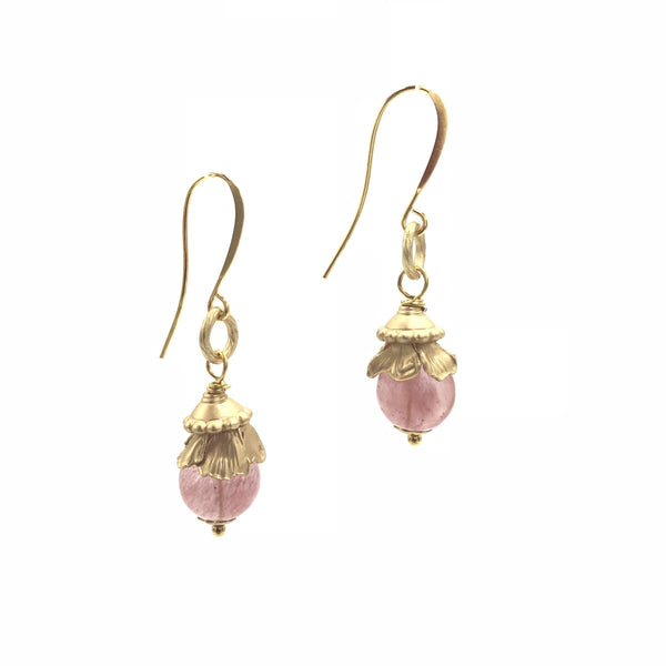 pink quartz gold earrings