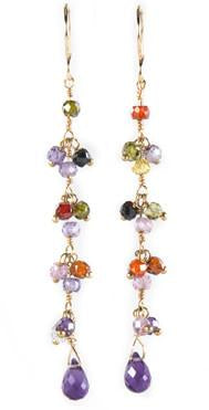 CLUSTER TEAR DROP VERMEIL EARRINGS
