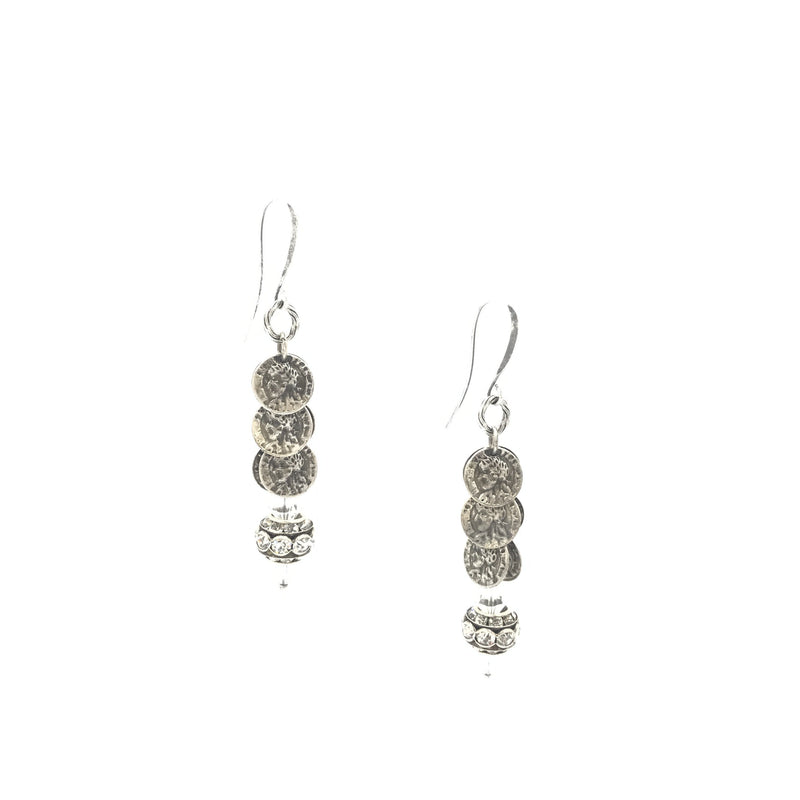 coin rhinestone sterling silver steel drop earrings