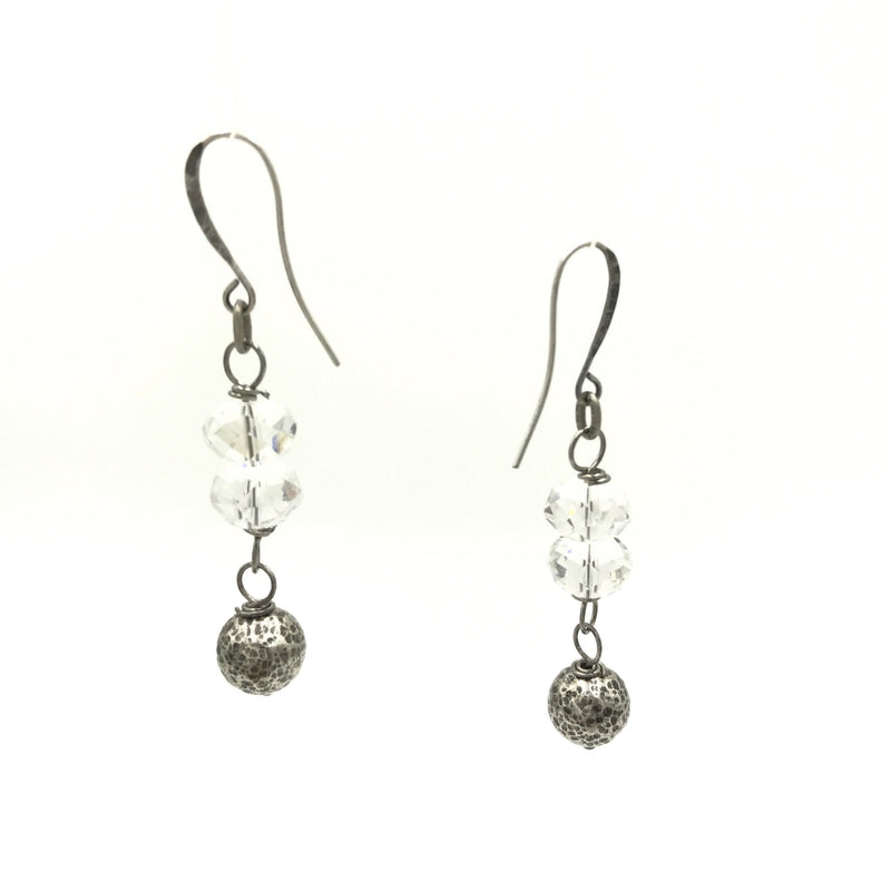 crystal silver ball drop earrings