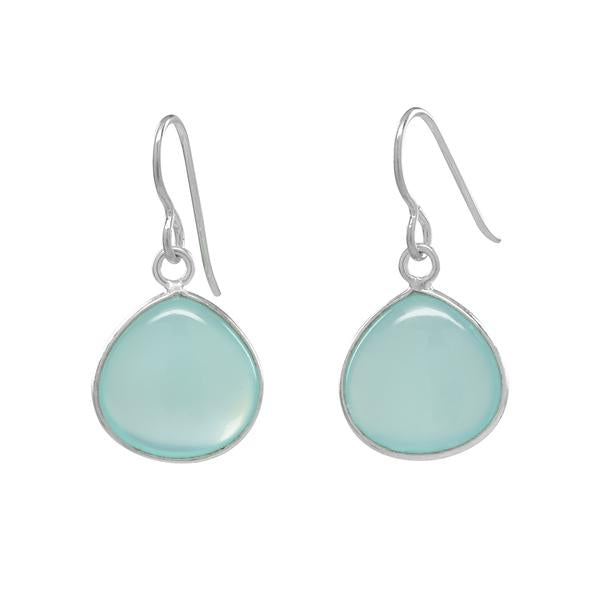 BLUE CHALCEDONY BEZEL STERLING SILVER EARRINGS