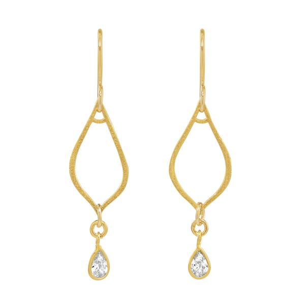GOLD VERMEIL CZ LOTUS EARRINGS