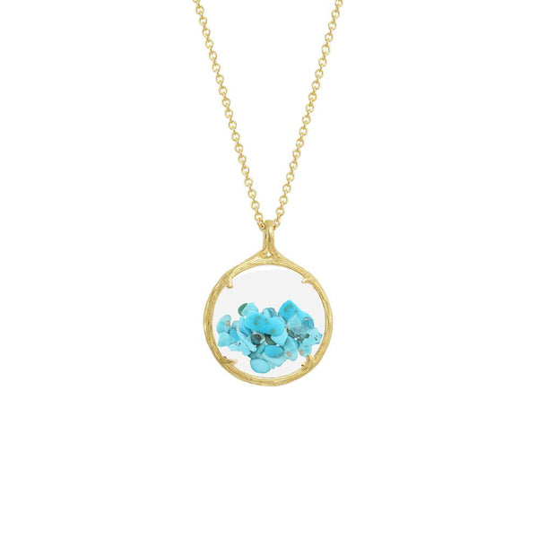 "18K GOLD VERMEIL SMALL SHAKER DECEMBER BIRTHSTONE NECKLACE ON 18"" CHAIN"
