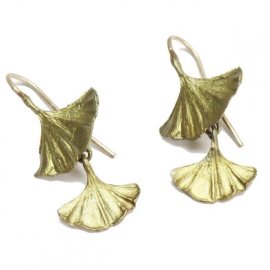 DF4003 GINGKO DOUBLE SROP EARRING MICHAEL MICHAUD BRONZE