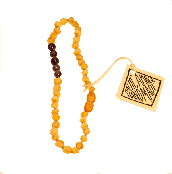 RAW BALTIC AMBER + AMYTHEST NECKLACE 11""