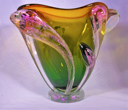 HAND BLOWN YELLOW GREEN VASE