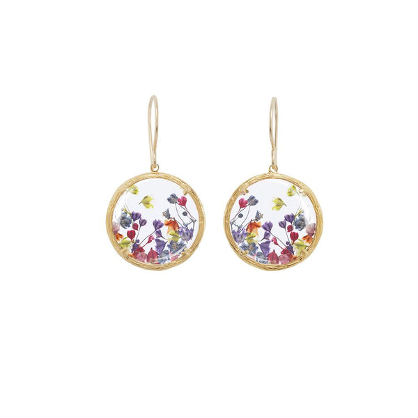 18K GOLD VERMEIL SMALL GLASS BOTANICAL EARRINGS WITH BABY'S BREATH
