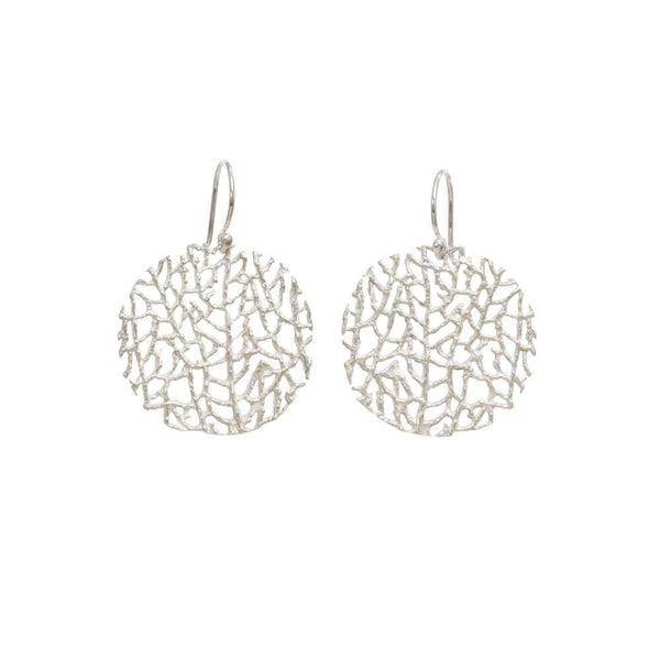 STERLING SILVER SMALL CORAL DISC EARRINGS