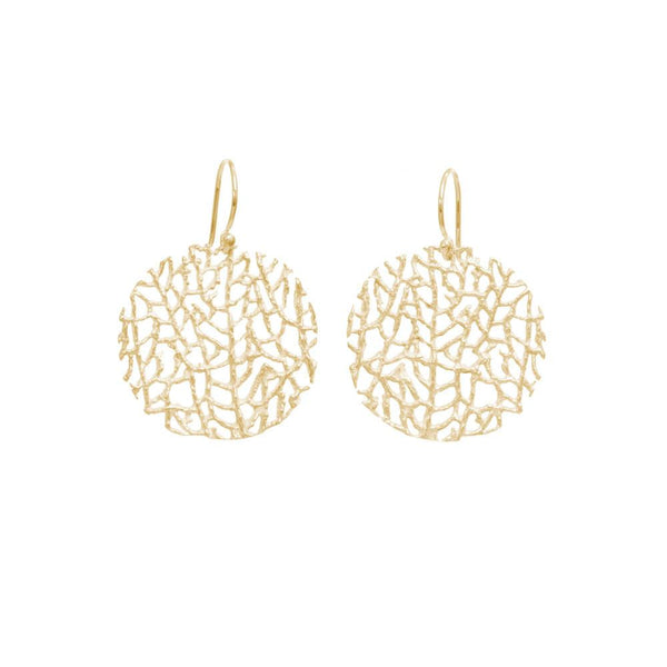 18K GOLD VERMEIL SMALL CORAL DISC EARRINGS
