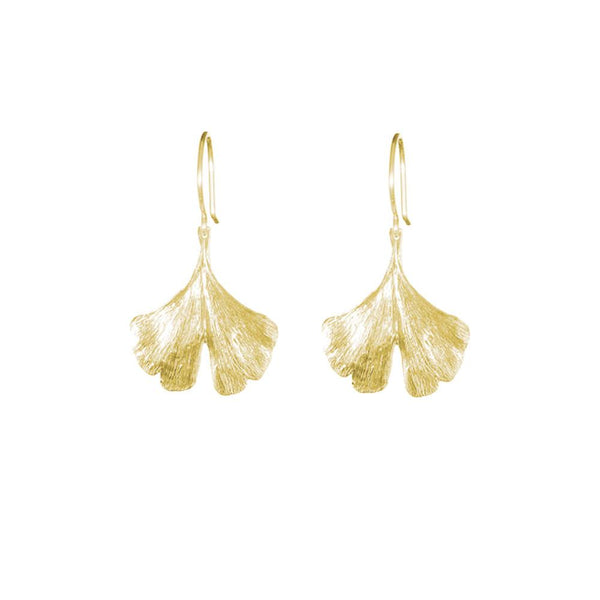 18K GOLD VERMEIL SMALL GINGKO LEAF EARRINGS