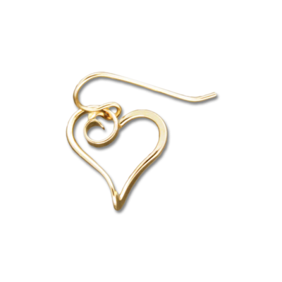 GOLD FILLED HEAVY HEART EARRINGS