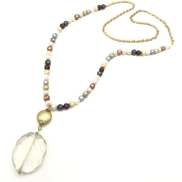 pearl quartz gold pendant necklace